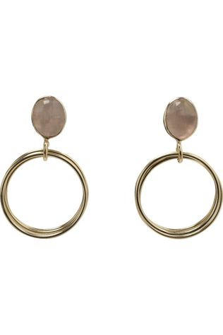 Yaya Oorbel Earrings With Rings And Stone Goud