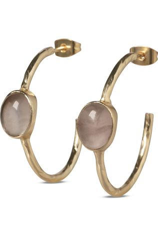 Yaya Oorbel Hoop Earrings With Stones Goud