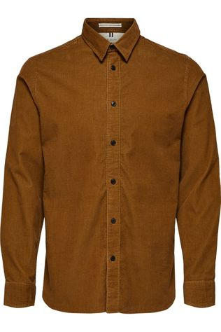 Selected Shirt Slhreghenley-Cord Camel Brown
