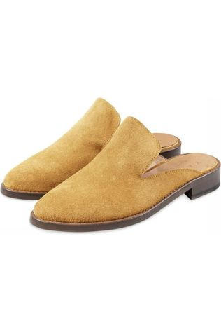 Yaya Schoen Leather Slip-On Loafers Zandbruin