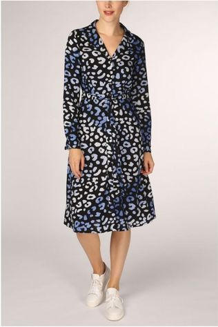 Sugarhill Boutique Dress Gerry Leopard Print Batik Black/Navy Blue