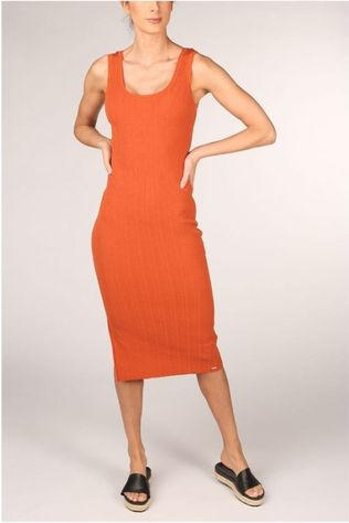 Superdry Dress Sahara Knit Midi Split rust