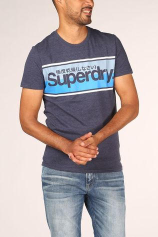 Superdry T-Shirt Core Logo Stripe Donkerblauw