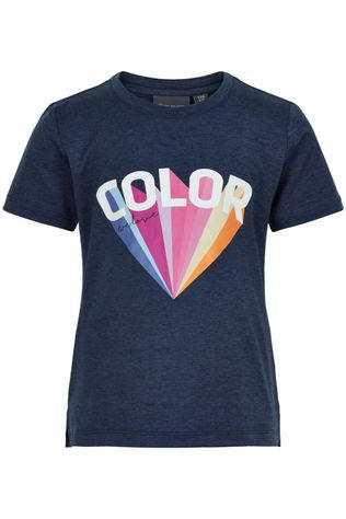 Color Kids T-Shirt W. Front Print S/S Bleu