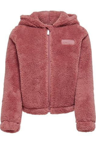 Only Play Cardigan Onpjomo Fluffy Ls Short Hood Swt mid brown