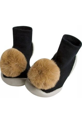 Collegien SOCK COLLE CHAUSSONS AVEC POMPONS black/camel