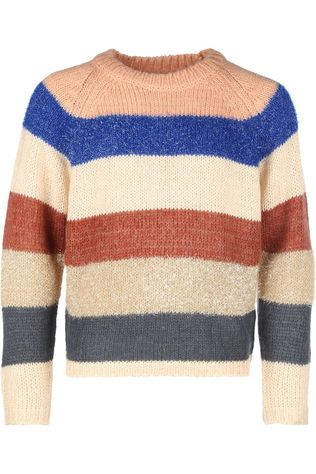 AO76 Pull C-Neck Multicolour Stripe Rose Clair/Ass. Arc en ciel