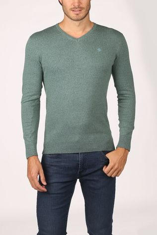 Haze & Finn Trui Knit V Neck Middengroen