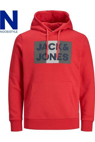 Jack & Jones Pull Jjecorp Logo  Play Sweat Hood Noos Jr Rouge