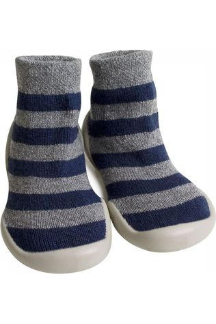 Collegien SOCK COLLE CHAUSSONS WOOL CASHMERE Dark Blue/Light Grey Mixture