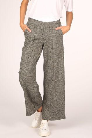 Ichi Trousers kate Grid Wide Pa2 black/off white