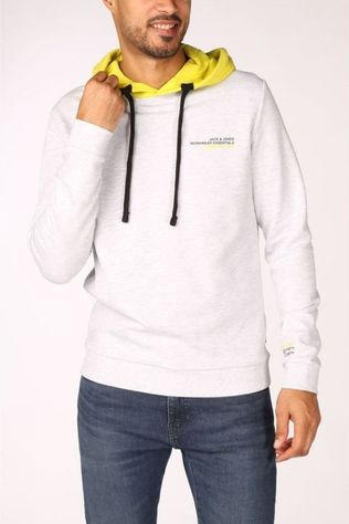 Jack & Jones Pull Jcomex Sweat Hood Gris Clair Mélange