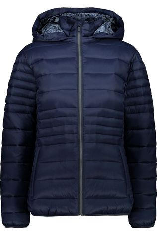 CMP Coat Woman Jacket Snaps Hood Navy Blue