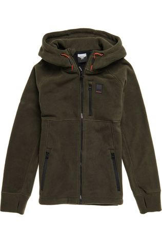 Superdry Fleece Polar Zip Thru Donkerkaki