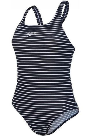 Speedo Bathing Suit End Print Medalist Navy Blue/White