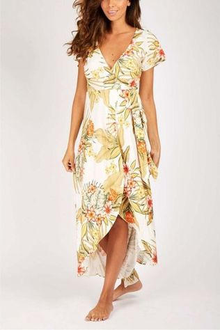 Banana Moon Dress Gulia Lahainavoile off white/Assortment Flower