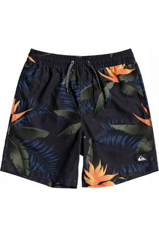 Quiksilver Short De Bain Poolsider Volley Youth 15 Noir/Ass. Fleur