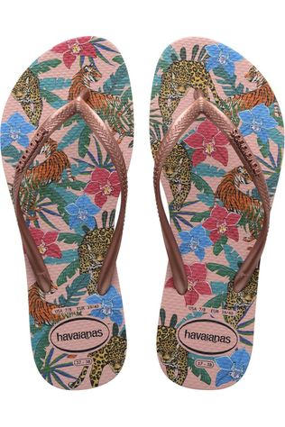 Havaianas Slipper Slim Tropical Ass. Bloem/Middenroze