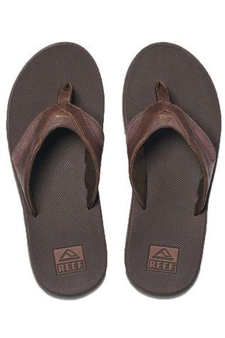 Reef Flip Flop Leather Fanning dark brown