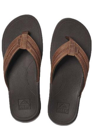 Reef Slipper Leather Ortho Bounce Coast Middenbruin
