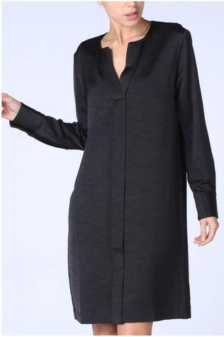 Yaya Robe Woven V Neck Placket Noir