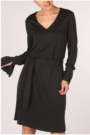 Yaya Robe Jersey With Strap At Cuff Noir