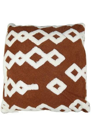 Yaya Home Kussen Teddy Pattern Cushion Square Donkerbruin