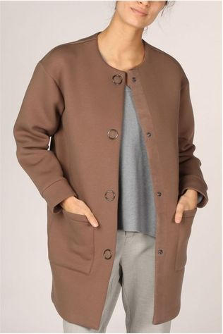 Yaya Manteau Cotton Blend With Large Press Buttons Brun moyen