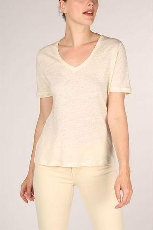 Yaya T-Shirt Linen V-Neck Satin Tape On Back Wit