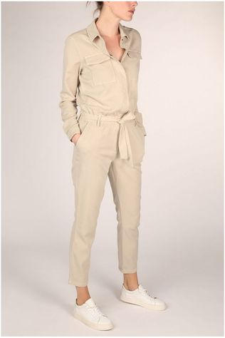 Yaya Jumpsuit ed Cargo Pockets And Epaulets Zandbruin