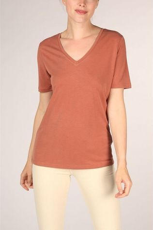 Yaya T-Shirt Cupro V-Neck Donkerrood