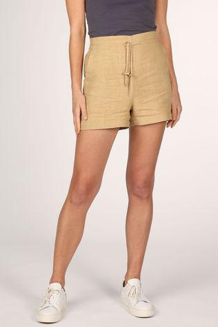 Yaya Shorts Linen Short With Drawstring Sand Brown