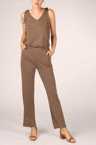 Yaya Jumpsuit Jersey Sleeveless Jumpsuit With Knotted Detail dark brown