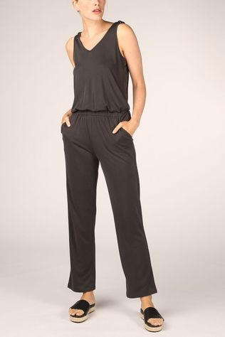 Yaya Jumpsuit Jersey Sleeveless Jumpsuit With Knotted Detail Zwart/Ass. Geometrisch