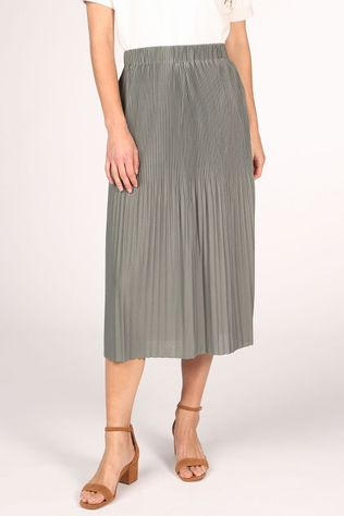 Yaya Jupe Midi With Pleats Vert Clair