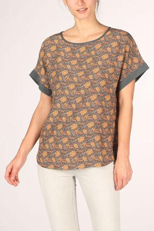 Yaya Blouse Round Neck With Print Middengrijs