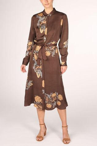 Yaya Robe Maxi Shirt With And Print Brun Foncé/Ass. Fleur