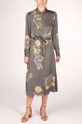 Yaya Robe Maxi Shirt With And Print Vert Clair/Ass. Fleur