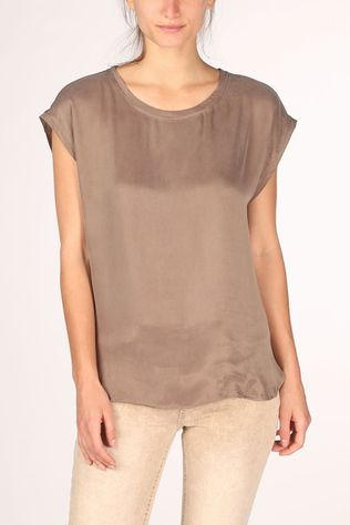 Yaya T-Shirt Fabric Mix With Rounded Hems Brun Foncé