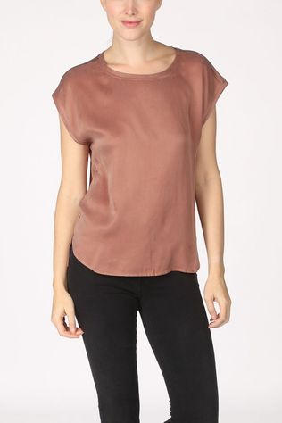 Yaya T-Shirt Cupro Blend Fabric Mix T-Shirt With Rounded Hems Middenbruin