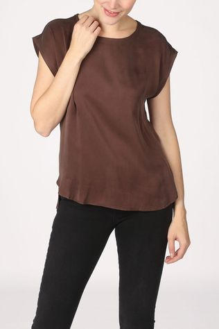 Yaya T-Shirt Cupro Blend Fabric Mix T-Shirt With Rounded Hems Donkerbruin