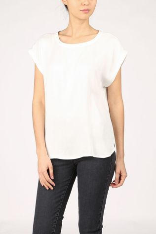 Yaya T-Shirt Cupro Blend Fabric Mix With Rounded Hems Gebroken Wit