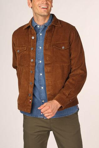 Tommy Hilfiger Shirt Corduroy Overshirt Camel Brown