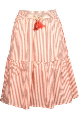 Like Flo Rok Flo Girls Woven Striped Long Gebroken Wit/Oranje