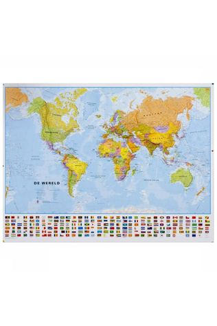 Maps International Wereld political with flags laminated with hanging strips 2019
