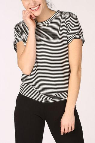 PlayPauze T-Shirt Dolphin Stripes Zwart/Wit