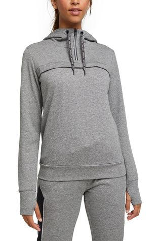 Esprit Pullover Hoodie Sweat Half Zip Light Grey Marle
