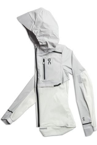 On Running Coupe-Vent Weather-Jacket Gris Moyen/Blanc Cassé