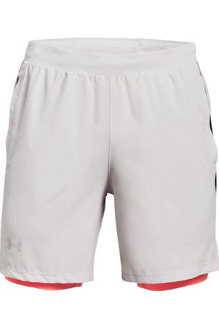 "Under Armour Short Launch Sw 2In1 7"" Blanc Cassé/Rouge"