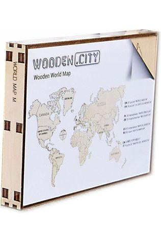 WOODEN CITY Wereld Kaart In Hout M 2017